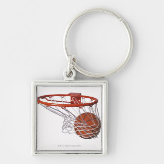 Basketball going through hoop Silver-Colored square keychain