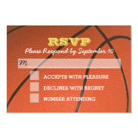 Basketball Gold Bar Mitzvah RSVP Card