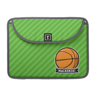 Basketball; Green Stripes Sleeve For MacBook Pro