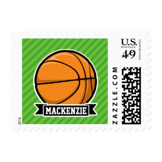 Basketball; Green Stripes Postage Stamp