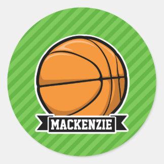 Basketball; Green Stripes Sticker