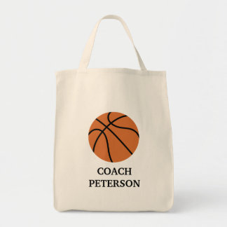 BASKETBALL Grocery Tote Bag - add a NAME!