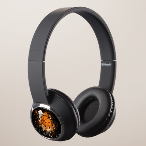 Basketball Grunge Paint Splatter Orange Black Cool Headphones