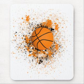 Basketball Grunge Paint Splatter Orange Black Cool Mouse Pad