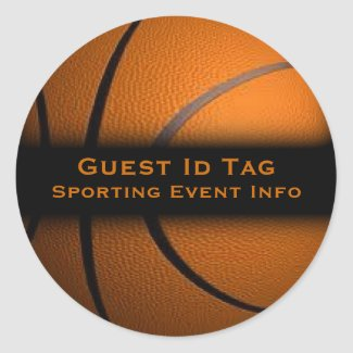 Basketball Guest ID Tags Event Stickers