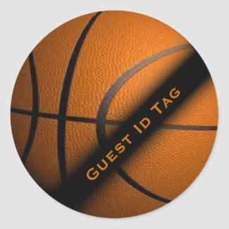 Basketball Guest ID Tags Stickers