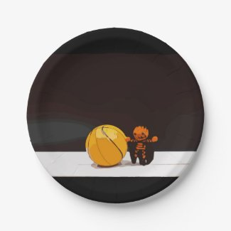 Basketball Halloween with Basketball and ghost Paper Plate
