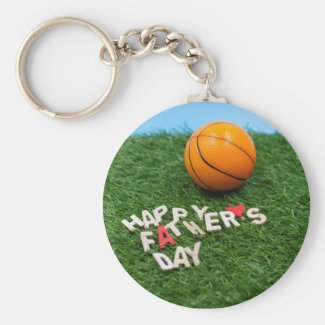 Basketball Happy Father's Day Card with basketball Keychain