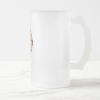 basketball head frosted glass beer mug