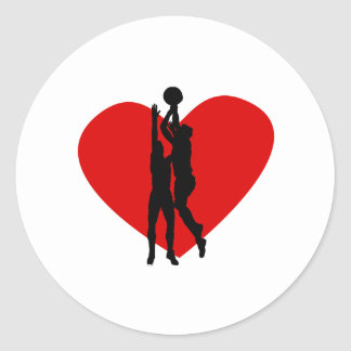 Basketball Heart Classic Round Sticker