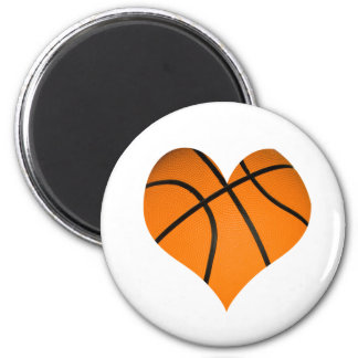 Basketball Heart Shape 2 Inch Round Magnet