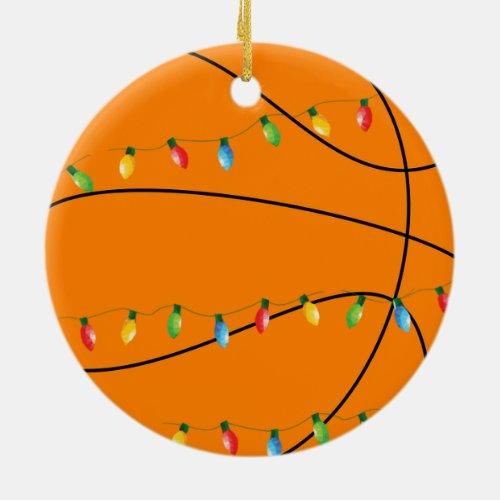 Basketball holiday ornament with lights