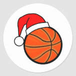 Basketball Holiday Round Stickers