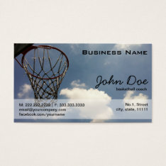 Basketball Hoop Against The Blue Sky Business Card at Zazzle