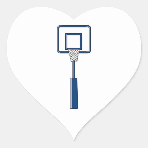 basketball hoop and net heart sticker