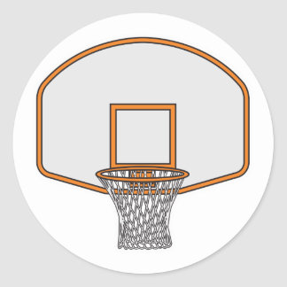 basketball hoop classic round sticker