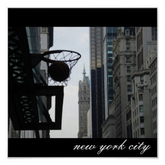 Basketball hoop in New York City. Posters
