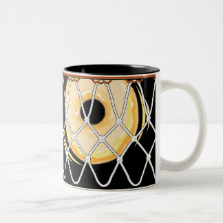 Basketball Hoop Net_on black_Donut Dunkers Two-Tone Coffee Mug