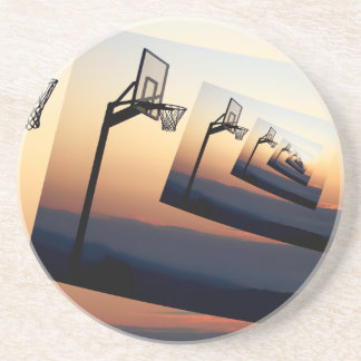 Basketball Hoop Silhouette Drink Coaster