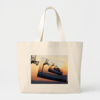 Basketball Hoop Silhouette Large Tote Bag