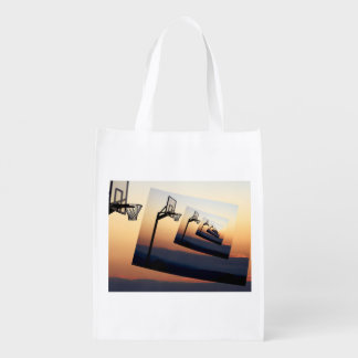 Basketball Hoop Silhouette Reusable Grocery Bag