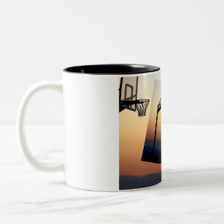 Basketball Hoop Silhouette Two-Tone Coffee Mug