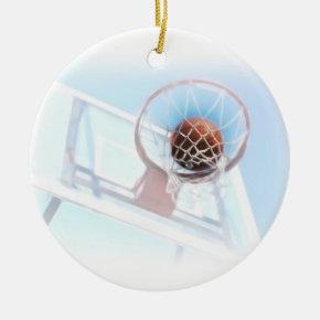 Basketball Hoop With Basketball Ceramic Ornament