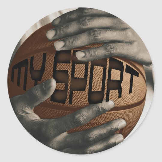 BASKETBALL HUG - MY SPORT - GIFTS CLASSIC ROUND STICKER