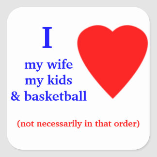 Basketball I Heart My Wife Square Sticker