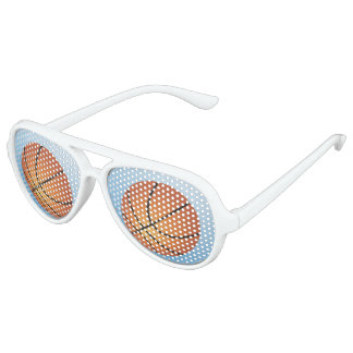 Basketball Icon Blue Background Aviator Sunglasses