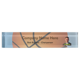 Basketball Icon Blue Background Desk Name Plate