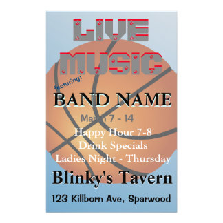 """Basketball Icon Blue Background 5.5"""" X 8.5"""" Flyer"""