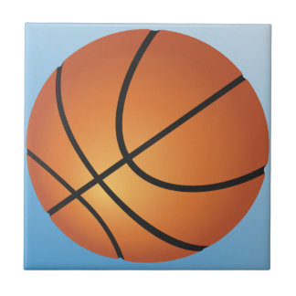 Basketball Icon Blue Background Tile