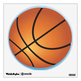 Basketball Icon Blue Background Wall Sticker