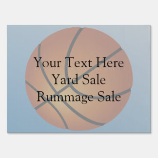 Basketball Icon Blue Background Yard Sign