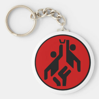 Basketball icon, red and black keychain