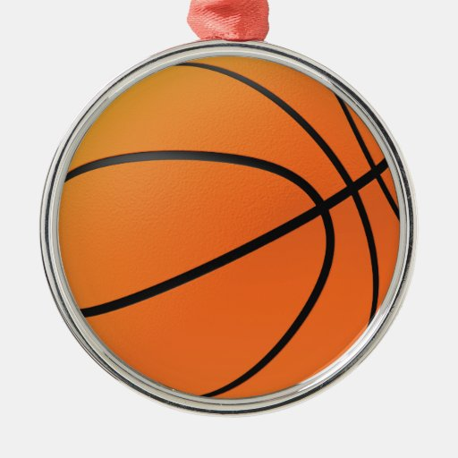Basketball in 3d round metal christmas ornament