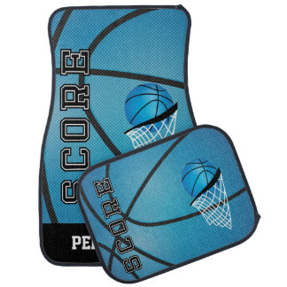 Basketball in a Sporty Blue Style   Personalize Car Mat