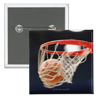 Basketball in basket. 2 inch square button