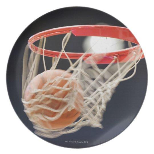 Basketball in basket. melamine plate