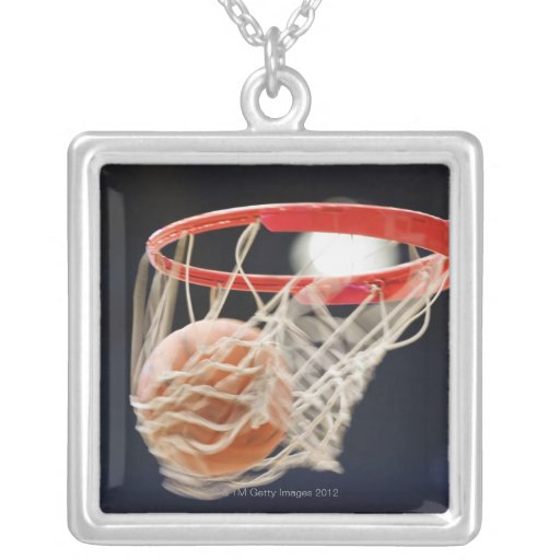 Basketball in basket. square pendant necklace