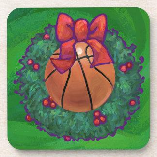Basketball in Christmas Wreath Beverage Coaster