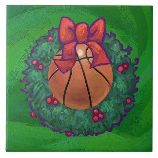 Basketball in Christmas Wreath Tile