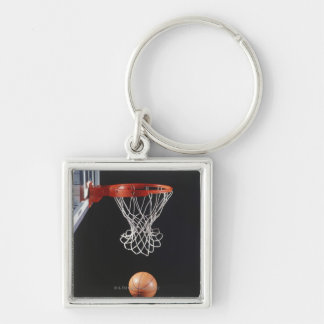 Basketball in hoop, close-up 2 keychain