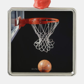 Basketball in hoop, close-up 2 metal ornament