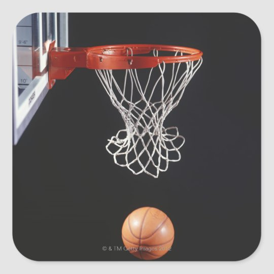 Basketball in hoop, close-up 2 square sticker