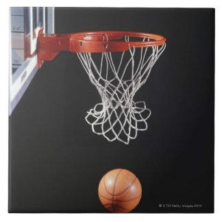 Basketball in hoop, close-up 2 tile