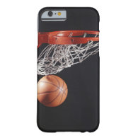 Basketball in hoop, close-up iPhone 6 case