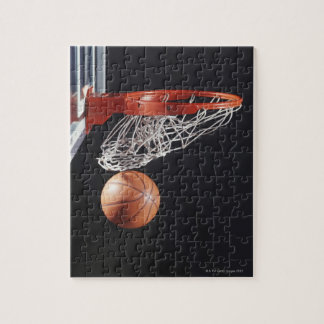Basketball in hoop, close-up jigsaw puzzle