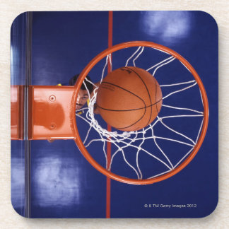 basketball in hoop drink coaster
